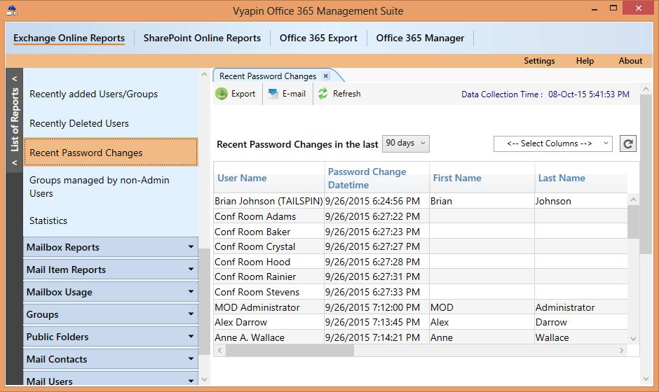 Recent password changes in Office 365