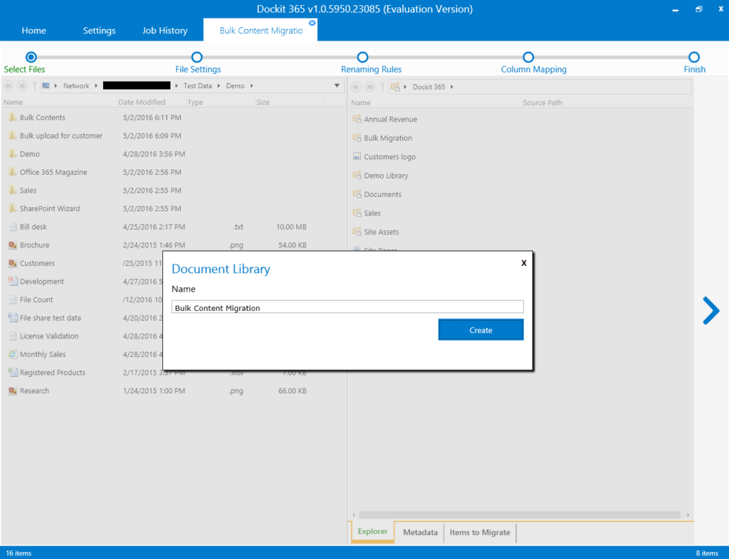 Document Library creation dialog