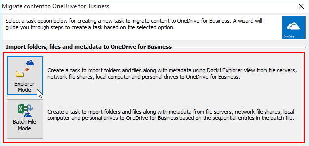 Explorer / Batch File mode to migrate contents to OneDrive