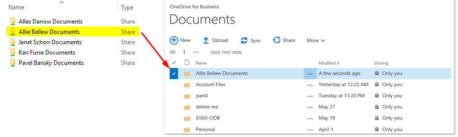 Allie Bellew's OneDrive for Business location