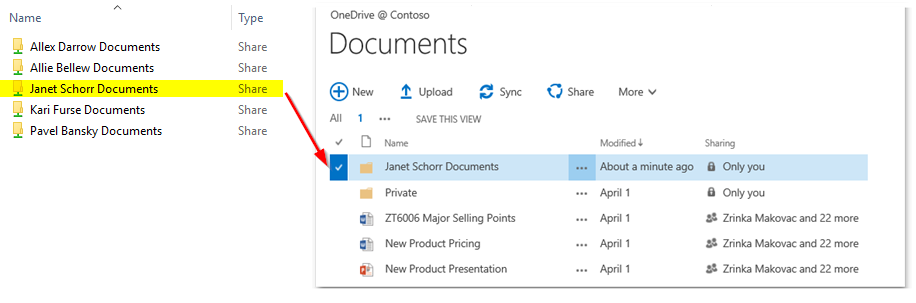 Janet Schorr's OneDrive for Business location