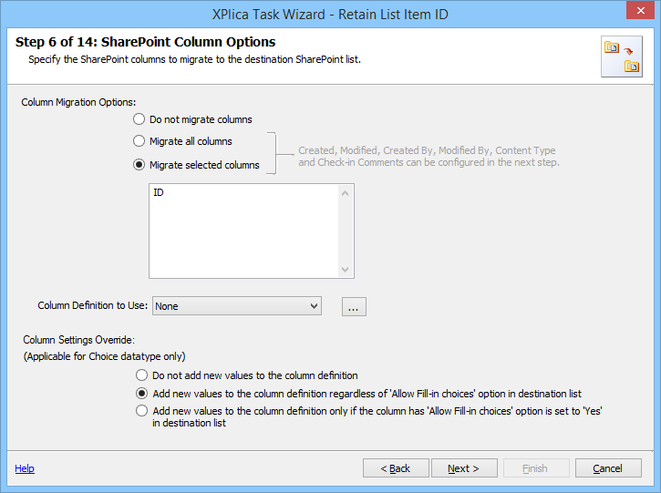 Migrate selected columns