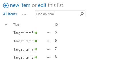 Target list before retaining list item id