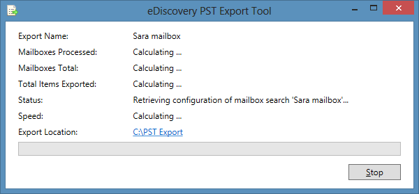 ediscovery pst export in progress