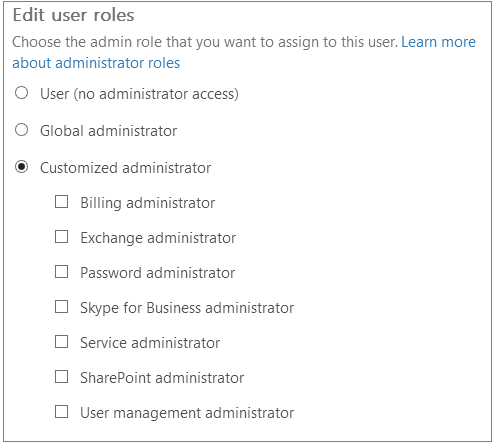 assigned admin roles of selected user