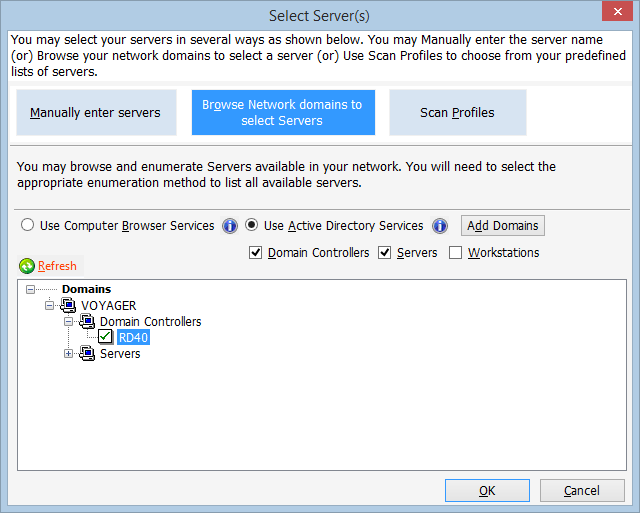 Browse network domains to select servers