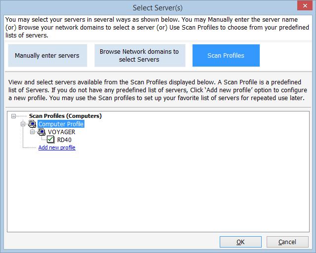 Scan server profiles