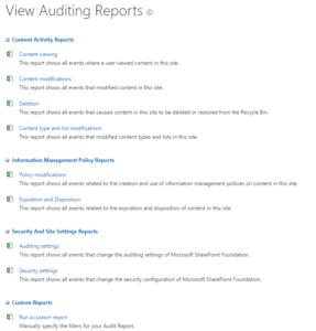 SharePoint farm audit report