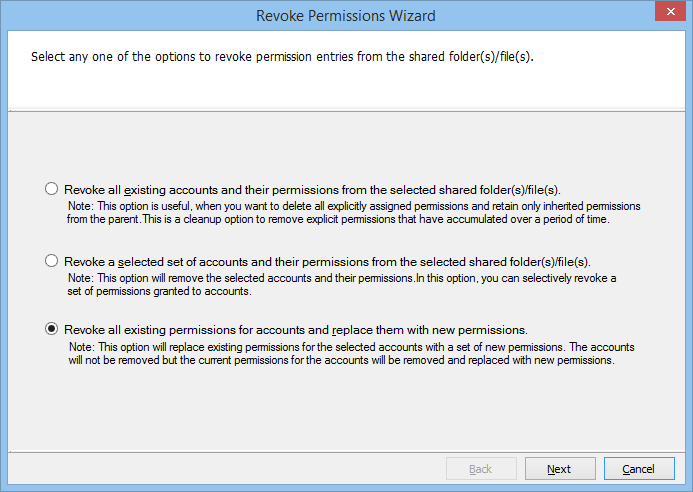 Revoke permissions wizard