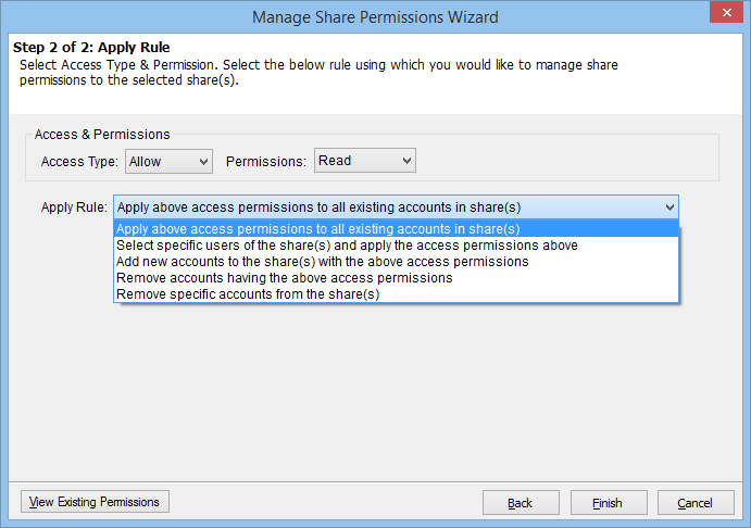 Rules for managing share permissions