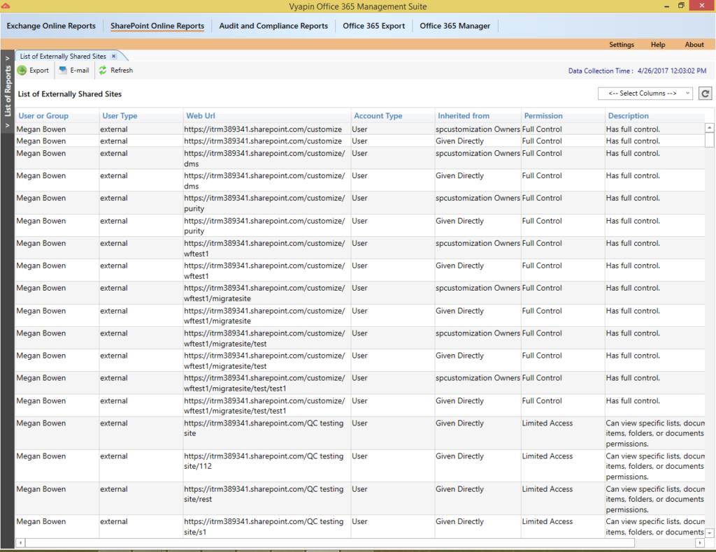 Externally shared sharepoint office 365 sites report