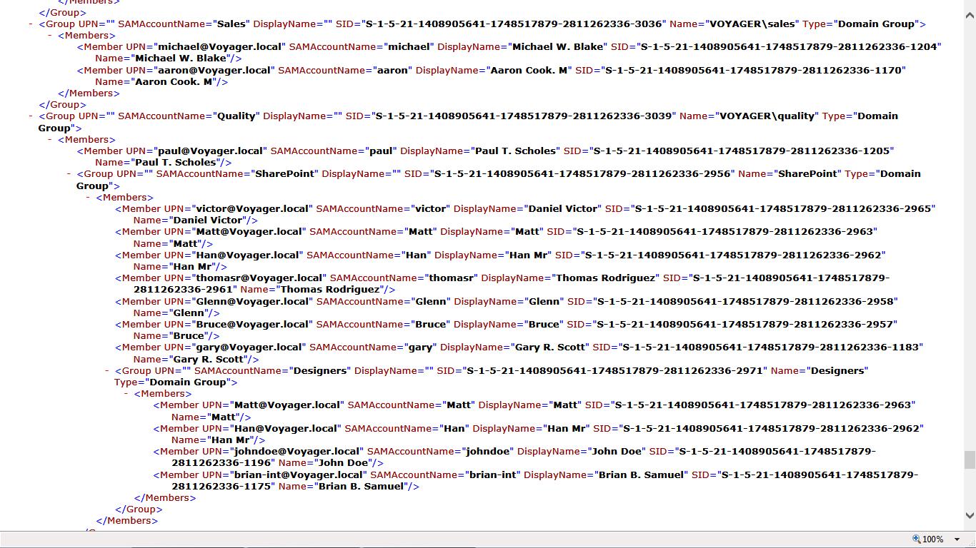 XML file showing AD details
