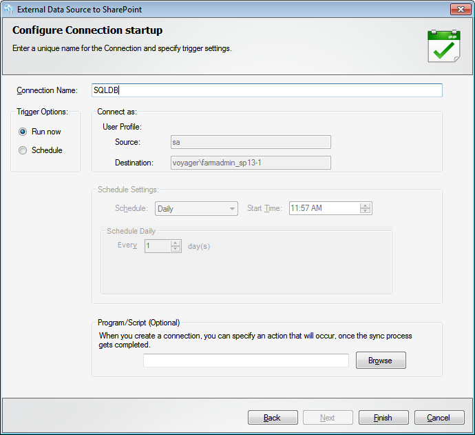 Configure Connection Setup