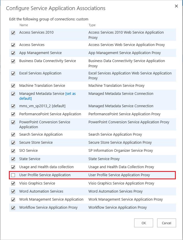 Configure Service Application Associations