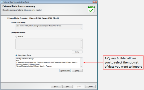 identify the particular set of data you want to import