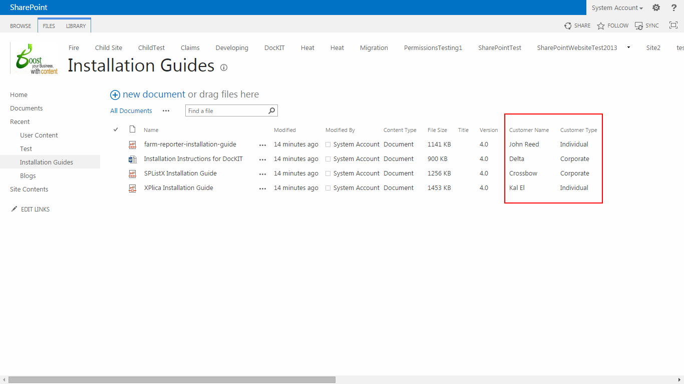 SharePoint Library metadata columns