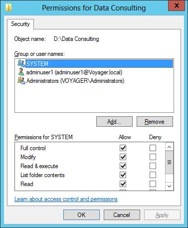 Edit NTFS permissions