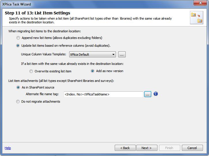list item settings