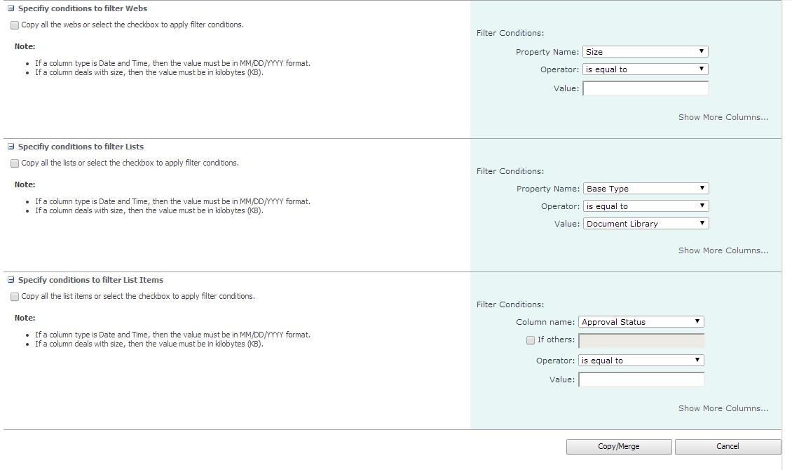 merge sites filter