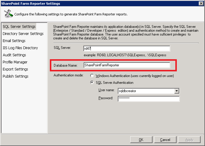enter a database name when configuring SharePoint Farm Reporter
