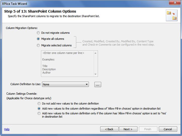 sharepoint column options