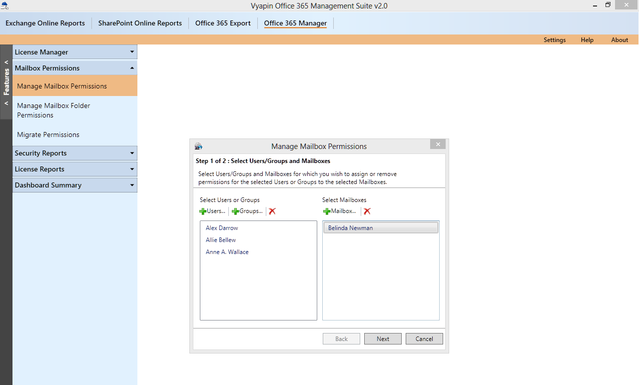 Manage Office 365 Mailbox permissions