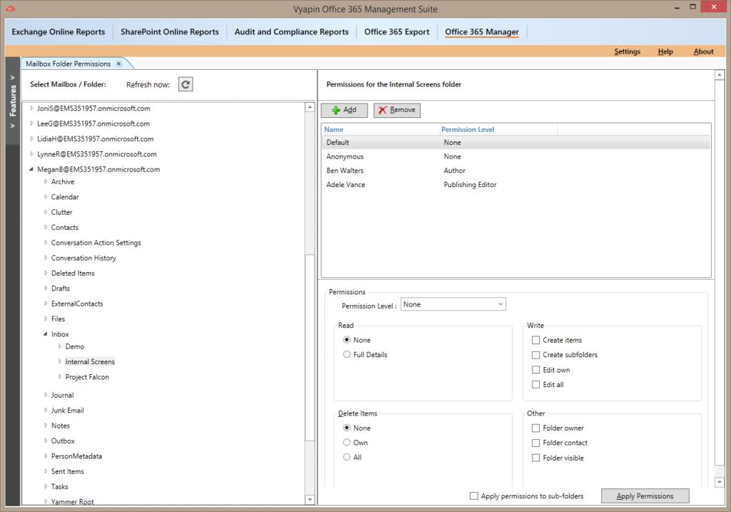 Office 365 Mailbox Folder Permission Report