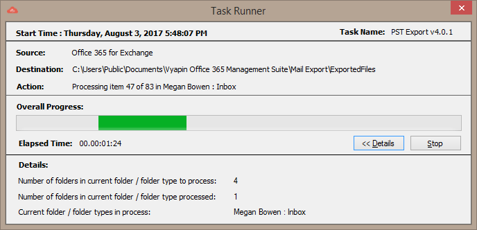 Office 365 PST Export Task Runner