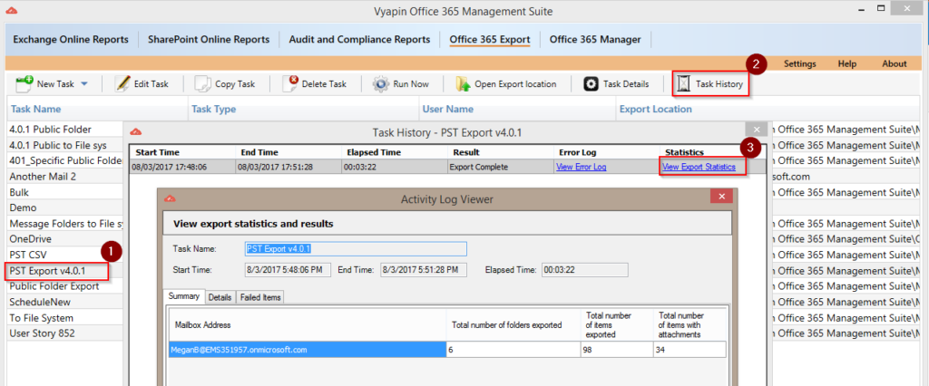 View Office 365 Export Statistics
