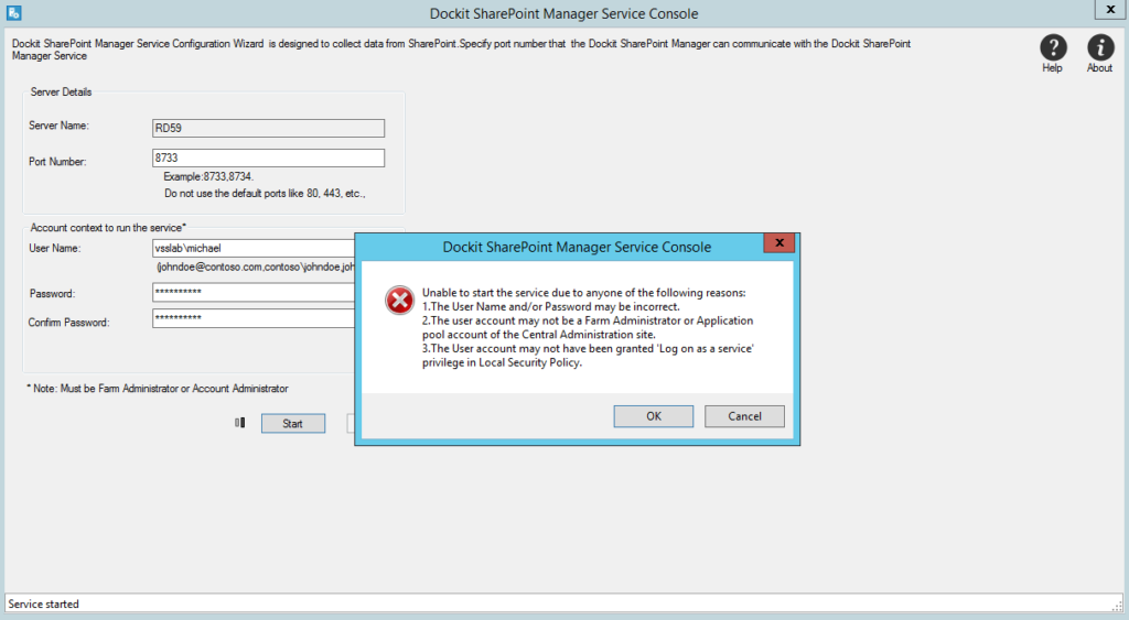 Enhanced Error message when service fails