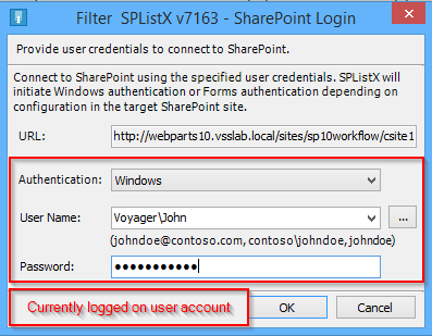 Currently logged on SharePoint user