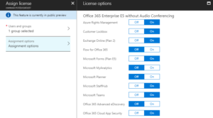 Office 365 license assignment options