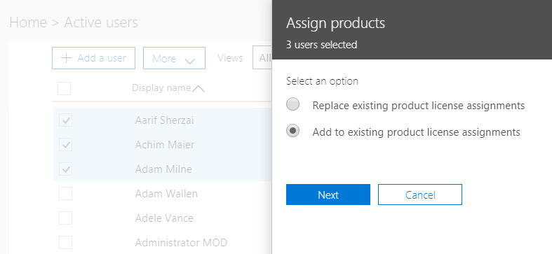 License Management using Office 365 admin center