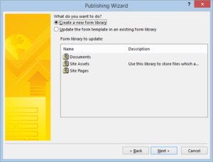 create new form library wizard