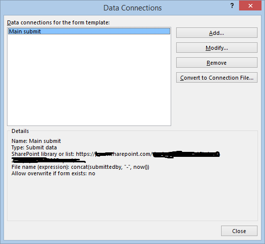 data connections dialog