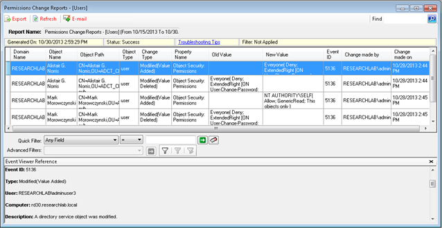 Active Directory permissions changes report