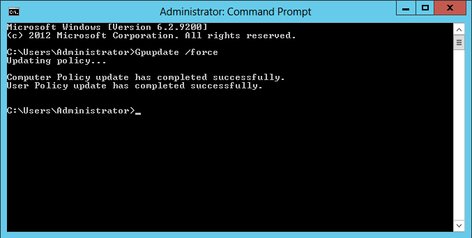 AD group policy update using command prompt