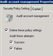 Audit AD account management properties