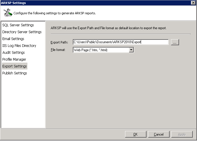 arksp settings
