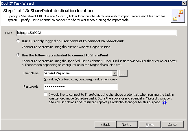 Select the desired SharePoint site