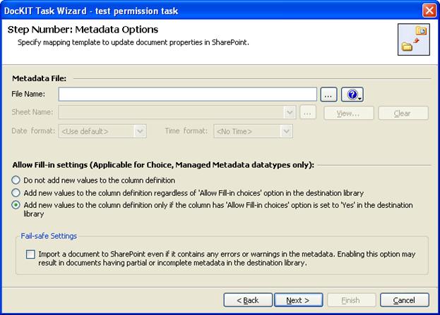 metadata options