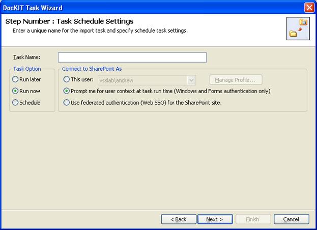 tasks schedule settings