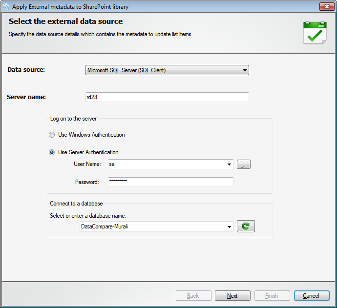 Select the external database