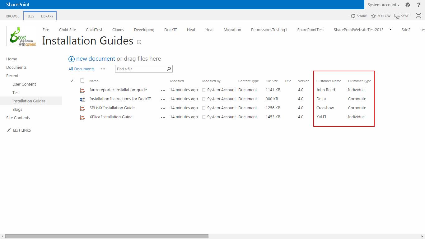 SharePoint Library metadata columns