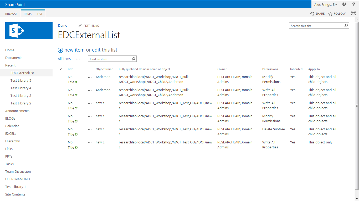 data is imported to the SharePoint List