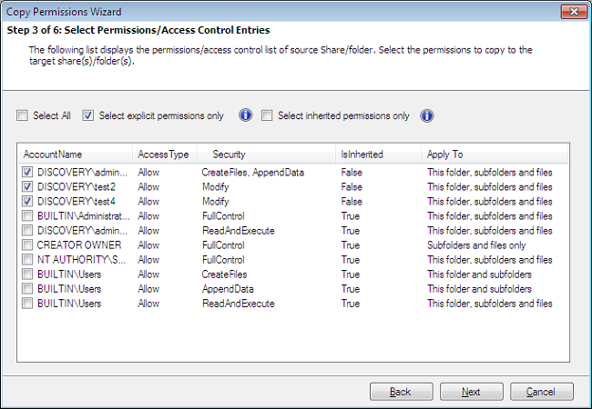copy permission account selection