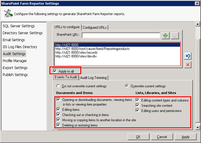 SharePoint farm reporter audit settings