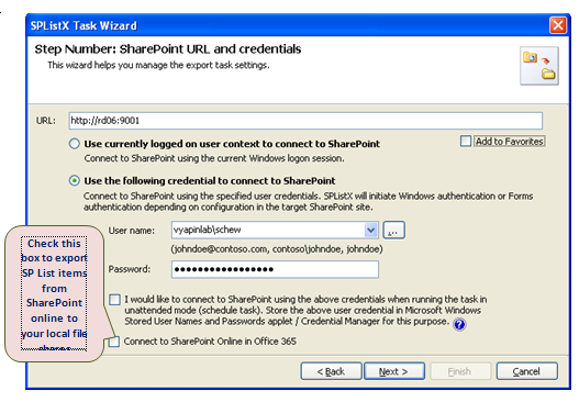 sharepoint url and credentials