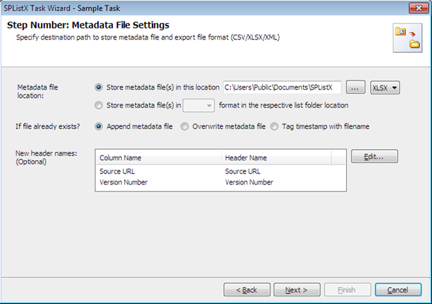 metadata file settings