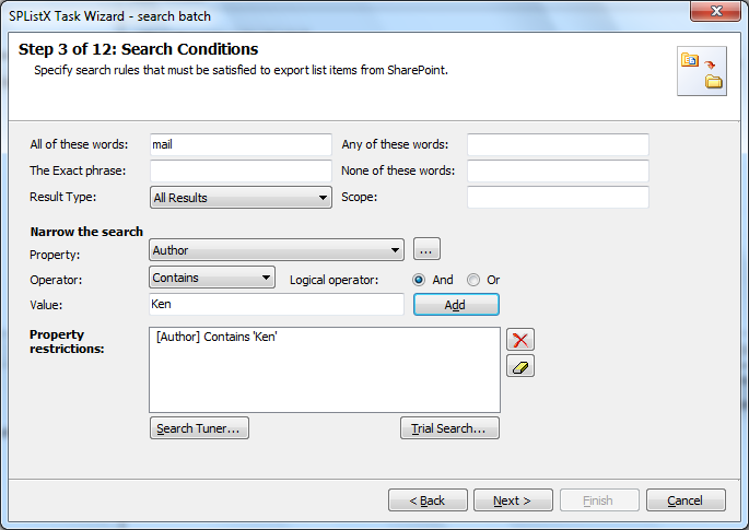 search conditions